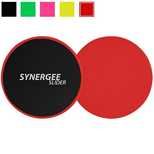 Synergee Rogue Red Gliding Discs Core Sliders. Dual Sided Use on Carpet or Hardwood Floors. Abdominal Exercise Equipment