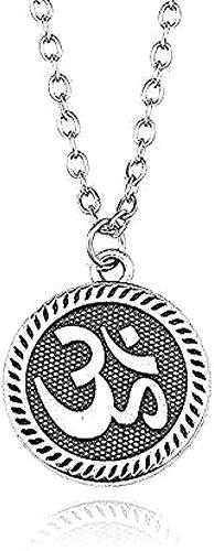 WYDSFWL Collar con Colgante Steunk Vintage pequeño Amuleto hindú Budista Yoga Collar Mujeres Deporte joyería Collar para Mujeres Hombres Regalo
