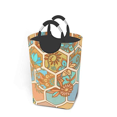 N\A Canasta de lavandería Plegable portátil de Panal de Abeja Dorado, Soporte Organizador de canastas de Ropa Sucia con asa para Soporte de Libros de Juguete, Almacenamiento de Lavado