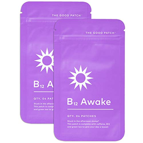 The Good Patch B12 Awake Patch with Plant-Based Ingredients, Infused with Caffeine, B12, and Green Tea Extract, Designed to give Your Day a Boost. (2 Pack) (8 Patches)