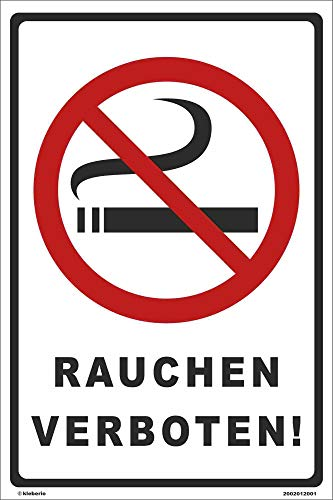 Kleberio® Verbots Schild 30 x 20 cm - Rauchen verboten - stabile Aluminiumverbundplatte