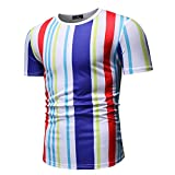 XDJSD Camiseta para Hombre Camiseta Corta De Manga Corta Camiseta De Gran Tamaño Top Camiseta De Cuello Redondo para Hombre Camisa para Hombre Camiseta Suelta Top a Rayas