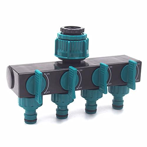 AKEFG Divisor de Manguera de jardín de 4 vías con 4 válvulas, Divisor de Manguera de Agua de 3/4', 1/2', 1'para Adaptador de Grifo Exterior