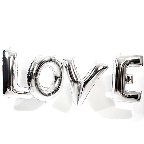 Yalulu 40 Zoll Groß Love Folienballons Folienballon Luftballons für Hochzeit Dekoration und Brautdusche Junggesellinnenabschied (Silber)