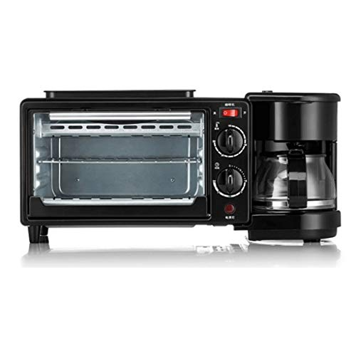 NXYJD Nostalgia Retro 3-en-1 Desayuno Fabricante de la estación 4 Copa Cafetera, 2 Slice Toaster del Horno con Temporizador, Plancha, Negro