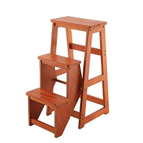 LYQZ Pieghevole Sgabello con 3 scalini in Legno per Uso Domestico in Legno per sedie da Giardino, Altezza 77cm (Color : Light Walnut)