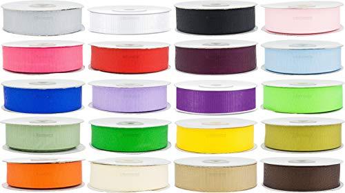 e-kurzwaren 6mm/12mm/25mm Cinta del Grosgrain 22m Mezcla para Embalaje Decoración de Regalo Cajas Flores Boda Navidad Cinta Acanalada 20 Colores