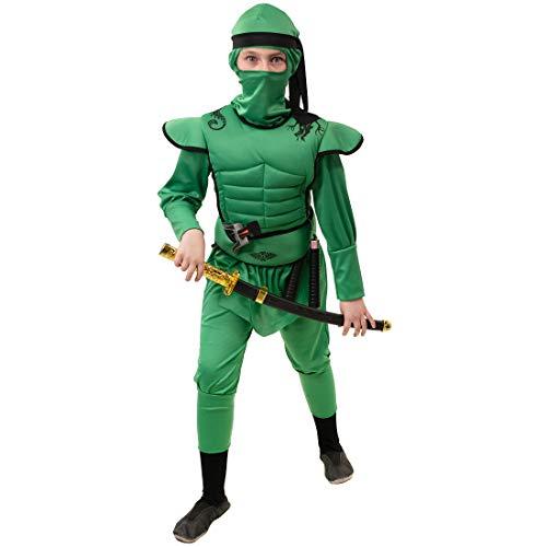 Stylischer Ninja-Kostüm für Kinder / Grün 140, 9 - 10 Jahre / Aufregendes Outfit Japanischer Krieger / Perfekt angezogen zu Mottoparty & Kinder-Fasching
