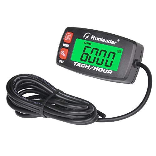 Runleader contaore digitale tachimetro,misuratore RPM,display retroilluminato,batteria sostituibile per tosaerba ZTR Generatore inverter compressore d'aria spazzaneve Motocicletta(032C-RD)