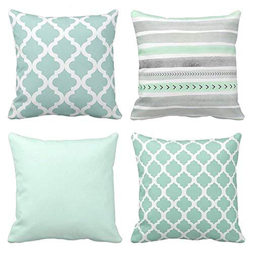 Emvency Juego de 4 fundas de almohada, diseño de rayas, color verde marroquí, menta, color gris, acuarela, diseño de flechas, color liso, decoración del hogar, 45 x 45 cm