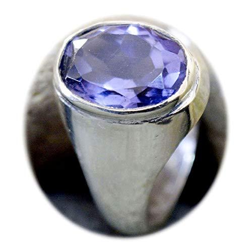 5 CT AMATISTA Natural hecho a mano de piedra 92,5% astilla Esterlina anillo de llamativos para los hombres