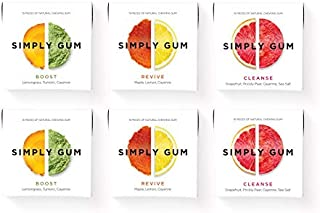 Simply Gum | Chewing Gum | Variety Pack - Boost, Cleanse, Revive | Pack of Six (90 Pieces Total)| Vegan + non GMO
