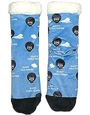 Fuzzy Warm Slipper Socks for Men and Women, Oooh Yeah Unisex Cozy Bob Ross Happy Tree Happy Clouds Sherpa Slipper