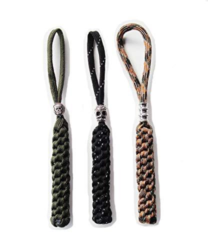 Danuland Taschenmesser mit Alloy Skull Beads,Handgefertigte Lanyards Anhänger für Jagdmesser/Outdoor Zahnrad/Reißverschluss/Schlüsselanhänger/Kamera/Zelle,3 Teile