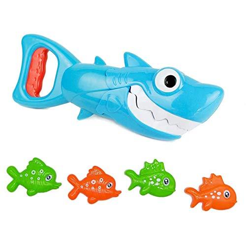 U-A Juguetes de baño para bebés: tiburón Azul con acción para morder los Dientes, Incluye 4 Juguetes de baño para Peces de Juguete para niños, niñas y niños pequeños