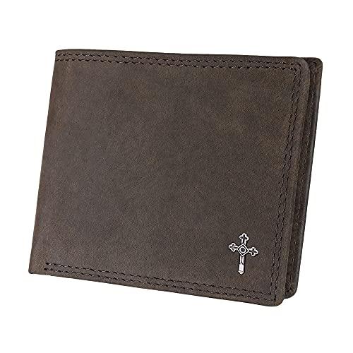 Hodalump Monedero de piel auténtica para hombre y mujer, con protección RFID, incluye paquete de regalo, color: marrón con Capricornio y relieve Hodalump