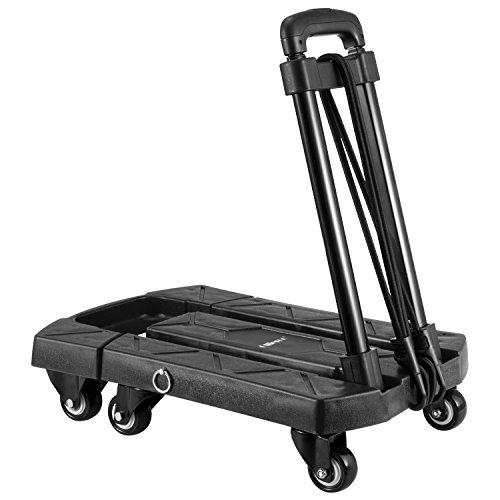 Ollieroo Cart Compact Personal Folding Hand Truck Luggage Cart with 6 Wheels and Free Rope, 440 Lb Capacity Black