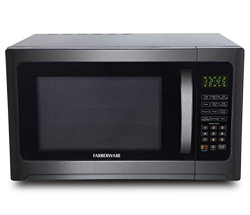 Farberware FMO12AHTBSG Bottle Dual Zone Freestanding Microwave Oven with Grill, 1.2 Cubic Foot, Black Stainless Steel