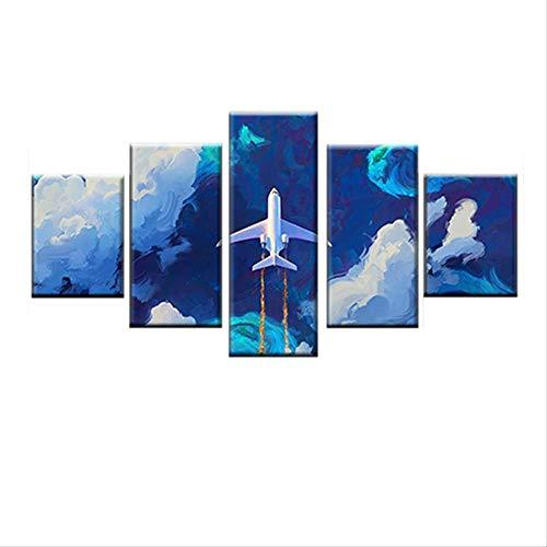 DGGDVP Modulair muurschildering, kunst, 5 panelen, vliegtuig, moderne afbeelding, canvas, decoratie voor huis, muurschilderijen 30x40cmx2 30x60cmx2 30x80cmx1 Met frame