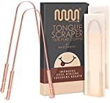 100% Pure Copper Tongue Scraper with Travel Case - 2 Pack, All Natural Ayurvedic Tongue Cleaner, Banishes Bad Breath and Maintains Oral Hygiene, Great Grip with Non-Synthetic Handle