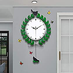 JUJUDA Pastoral Home Decor Wall Clock with 3D Butterflies Wall Stickers, Pure Country Style Pendulum Wall Clock for Living Room Bedroom Kitchen Decoration