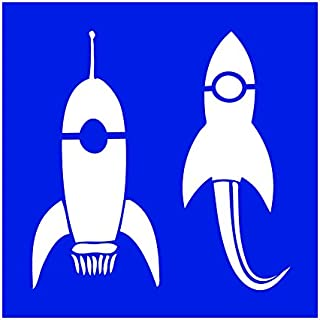 Auto Vynamics - STENCIL-SPACE-ROCKETS - Pair Of Rockets Individual Stencil from Classic Aliens & UFO's Stencil Set! - 10-by-10-inch Sheet - Single Design