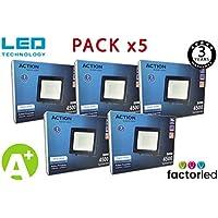 FactorLED ¡OFERTA! Pack x5 Foco LED 50W Negro Slim, Iluminación Exterior e Interior, Proyector Ultrafino IP65, Floodlight Decoración, [Eficiencia energética A+] (Luz Fría (6000K))