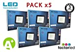 FactorLED ¡OFERTA! Pack x5 Foco LED 50W Negro Slim,...