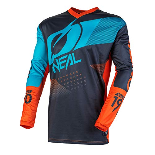 O\'NEAL | Mountainbike Langarm-Shirt | Kinder | MTB DH FR Downhill Freeride | Atmungsaktives Material, Gepolsterter Ellbogenschutz | Element Youth Jersey Factor | Grau Orange Blau | Größe XL