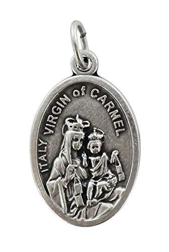 Ferrari & Arrighetti Medalla Virgen del Carmen de Metal Oxidado con Forma Ovalada - 2,5 x 1,5 cm (Paquete de 10 Piezas)