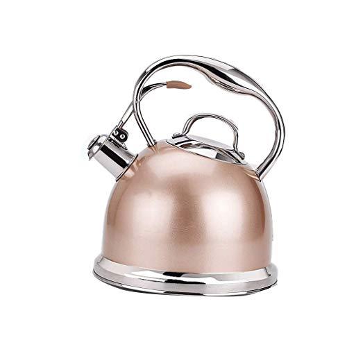JXLBB Champagne 304 en acier inoxydable sûr eau potable ne prend pas le poêle bouilloire mode santé cuisinière à induction gaz général automatique sifflet