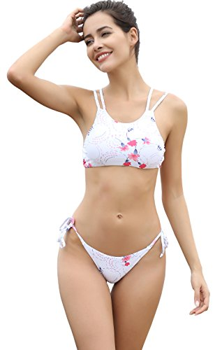SHEKINI Damen Blumendruck Neckholder Gepolsterte Bikini Set Sport Bademode Badeanzug Schwimmanzug Strandkleidung (Large, Weiß)