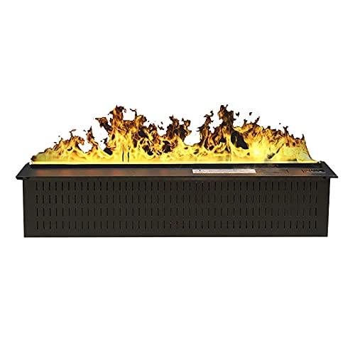 Chimenea Eléctrica de Pared Efectos de llama eléctrica empotrada de 39 pulgadas Efectos de llama 3D, conexión de llama y seguridad ajustables Sistema de protección decorativa con chimenea y botón remo