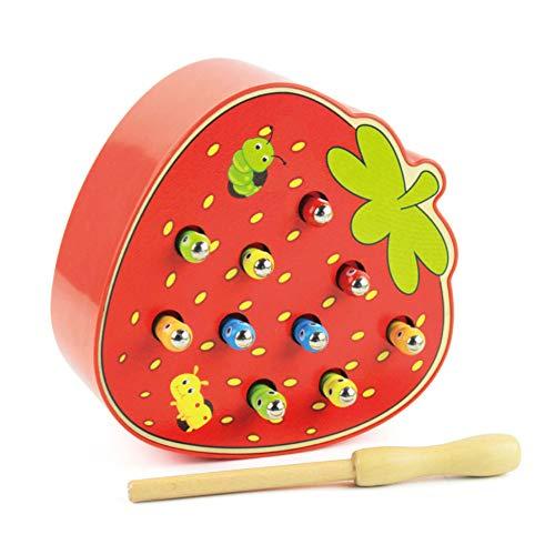 KingbeefLIU Forma De Fruta Captura Magnética De Madera Juego De Gusanos Coloridos Regalo Interactivo De Juguete para Niños Crece con Niños Desarrolla Inteligencia Fresa