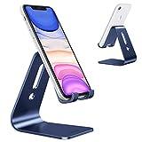 """OMOTON Supporto Telefono, Porta Cellulare, Stand Universale Scrivania per Video, Dock in Alluminio per iPhone 12 Mini/PRO Max/SE/11 PRO/XR/8 Plus, Samsung, Xiaomi, Altri Smartphone(3,5-10,5""""), Blu"""