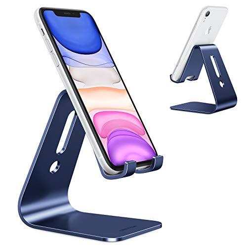 OMOTON Handy Ständer, Aluminium Handy Halter für Video/Büro, Tisch Handy Halterung kompatibel mit iPhone 12/12 pro/11 Pro/Xs Max/Xr/SE/8/7/6, alle 3.5-11 Zoll Android-Smartphones und Switch, Blau