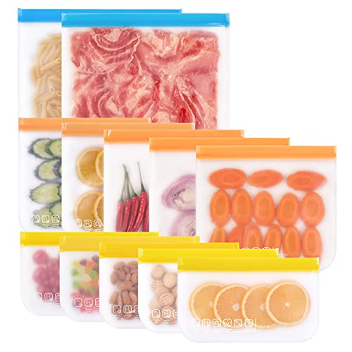 Reusable Food Storage Bags- 12 Pack BPA FREE Flat Freezer Bags (2 Reusable Gallon Bags & 5 Leakproof Reusable Sandwich Bags & 5 Small Kids Snack Bags) for Meat Veggies Fruit