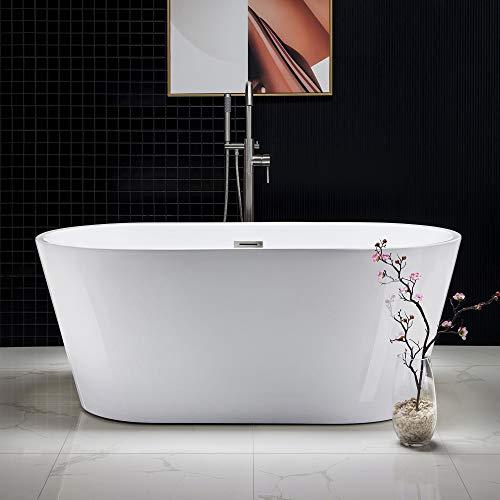 Woodbridge Acrylic Freestanding Bathtub Contemporary Soaking Tub with Brushed...