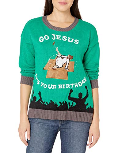 Blizzard Bay Women's Ugly Christmas Jesus Sweater, Bday Green, Large
