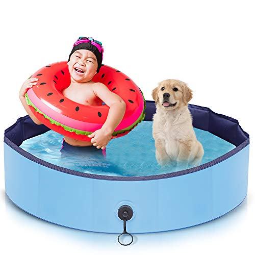 AIIYME Dog Pool, Pet Pool Dog Swimming Pool Portable PVC Leakproof Collapsible Bathing Tub Kiddie Pools with 4 Repair Patches and Pet Brush for Small Dogs Cats and Kids(32X8inches/80X20cm)