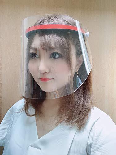 【日本製】フェイスシールド プレミアム スリム(Face Shield Premium Slim)厚み0.5mm フェイスガード 保護シールド 調整可能 男女兼用(シールド3枚付属)モデル有馬冬華さん装着 (イエロー)