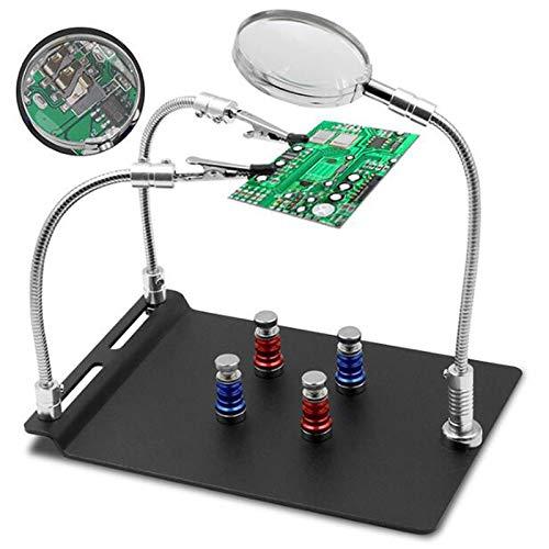 SUQIAOQIAO Magnetisches Löten hilft Hände mit Lupe, 4 PCB-Leiterplattenhalter und 2 Flexible Magnetarmklemmen schwere Basis für elektronische Reparaturhobby-Handwerk