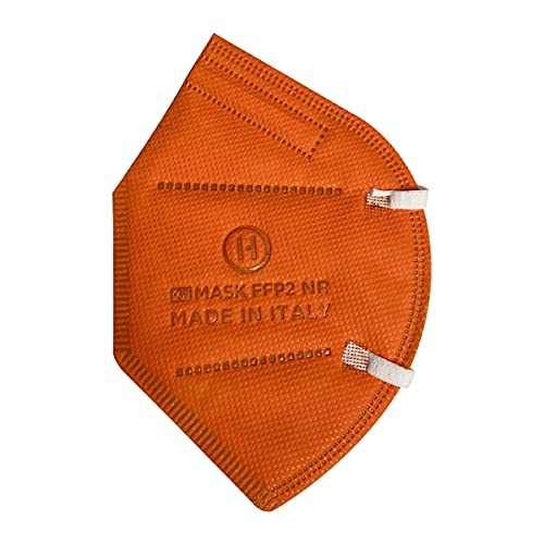 15 Stück FFP2 Masken, CE-zertifiziert, orange, weiche weiße Gummibänder, 5 Schichten, Filtration ≥ 95%, einzeln versiegelt, ISO 9001 und EU 2016/425