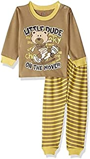 Jockey Bear Print Long Sleeves Round Neck Sweatshirt with Striped Pants Pajama Set for Boys
