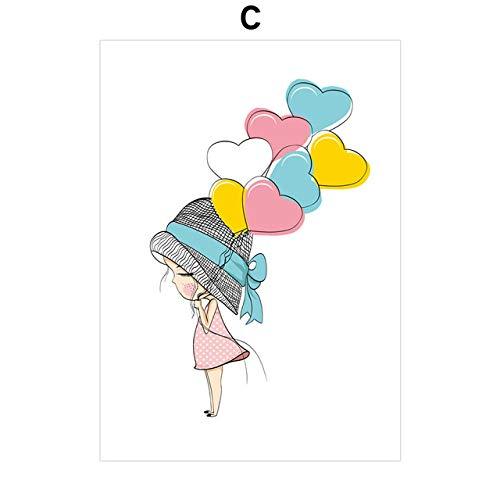LyrdreamCartoon Mädchen In Hut Mit Blumen Herzförmige Luftballons Wandkunst Leinwand Zeichnung Nordic Poster Mädchen Raumdekoration Wandbild 50X70 Cm