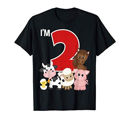I'm 2 Birthday Boy Girl Farm Animals Theme Party 2 Year Old Maglietta