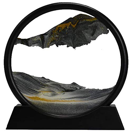 Timagebreze Moving Sand Art Picture Round Glass 3D Deep Sea Sandscape in Motion Display Flowing Sand Frame(12inch)