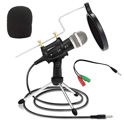 Hirkase Microfono per PC, Microfono Portatile con jack da 3,5 mm Compatibile con PC e Smartphone, Microfono a Condensatore Professionale per Registrazioni Vocali e Musicali Karaoke
