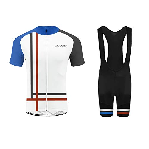 Uglyfrog Damen Team Radtrikot Anzug Breathable Kurzarm Shirt + Enge Shorts Set für Rennrad Racing Outdoor Sports