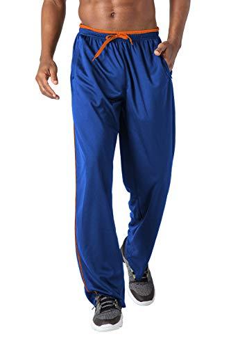 KEFITEVD Herren Sporthose Lang Leicht mit Handytaschen Training Gym Yoga Hose Sommer Herrenhose Weich Pyjama Hose Dünn Schlafhose Polyester Königsblau-Orange M